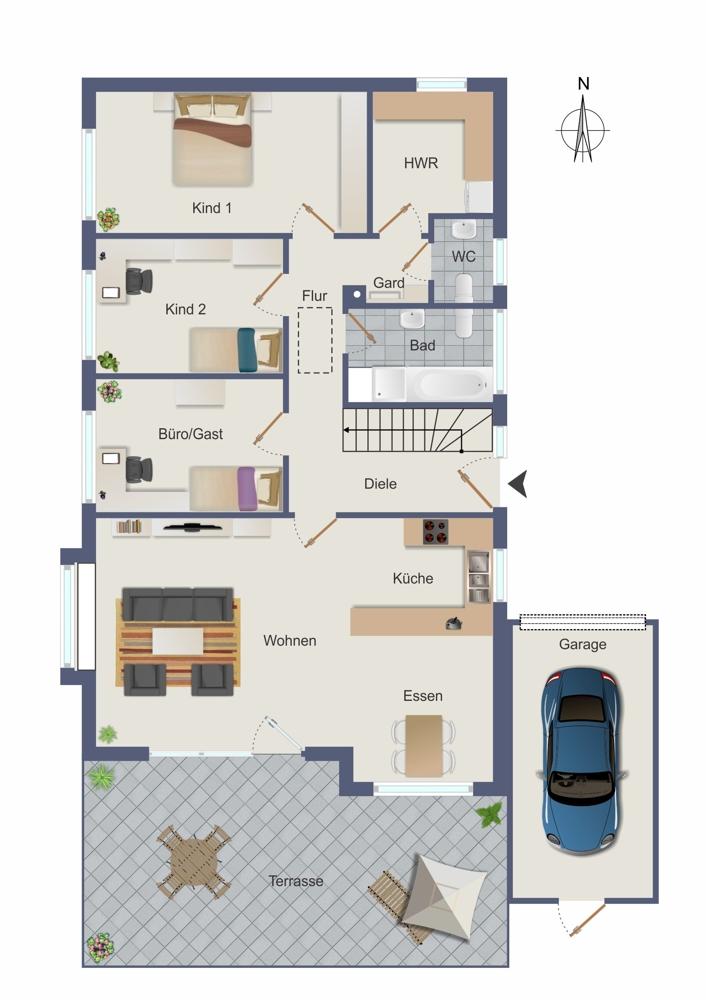 Erdgeschoss - umgebaut